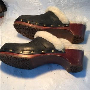 Vintage Ugg Leather Fur Wooden Clogs